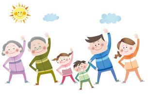 ラジオ体操をする笑顔の三世代家族のイラスト素材 [FYI01663780]