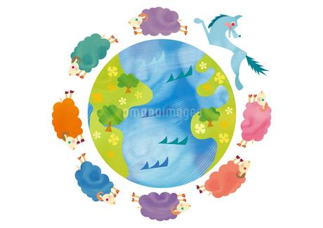 地球を回る羊と狼 未年 年賀状のイラスト素材 [FYI01663787]