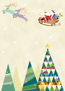 クリスマスツリーとソリにのるサンタクロースのイラスト素材 [FYI01663811]