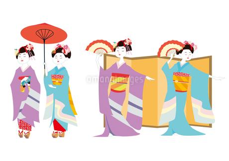 和傘をさす舞妓さん・日本舞踊を舞う舞妓さんのイラスト素材 [FYI01663816]