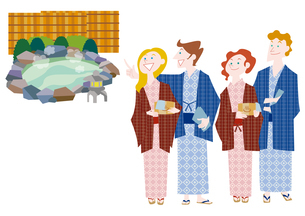 外国人観光客の日本観光 温泉旅行のイラスト素材 [FYI01663836]