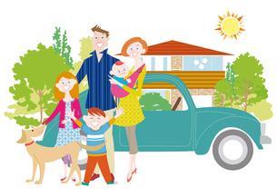 マイホームと家族と犬のイラスト素材 [FYI01663842]