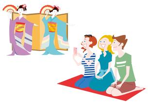 外国人観光客の日本観光 日本舞踊を鑑賞のイラスト素材 [FYI01663847]