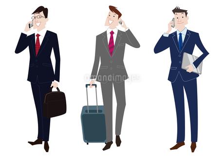 携帯電話で通話するビジネスマンのイラスト素材 [FYI01663849]