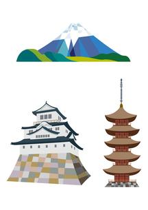 富士山、日本の城、五重塔のイラスト素材 [FYI01663850]