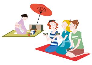 外国人観光客の日本観光 お茶席に参加のイラスト素材 [FYI01663853]