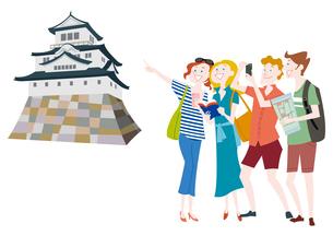 外国人観光客の日本観光 日本の城のイラスト素材 [FYI01663854]