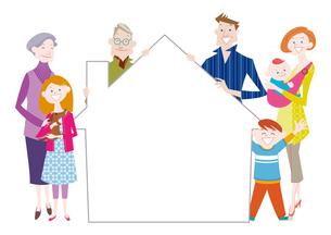 家の形のフレームを持つ三世代家族のイラスト素材 [FYI01663856]