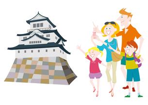 外国人家族の日本観光 日本の城のイラスト素材 [FYI01663857]