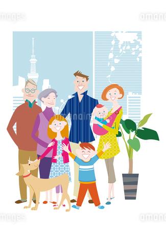 三世代家族と犬のイラスト素材 [FYI01663861]