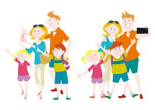 観光を楽しむ外国人家族の集団のイラスト素材 [FYI01663863]