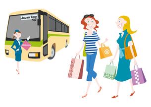 外国人観光客の日本観光 観光バスとお土産を買うのイラスト素材 [FYI01663866]