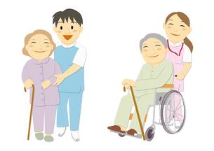 医療現場で働く人々(医者、看護婦、看護師、介護福祉士)のイラスト素材 [FYI01663872]