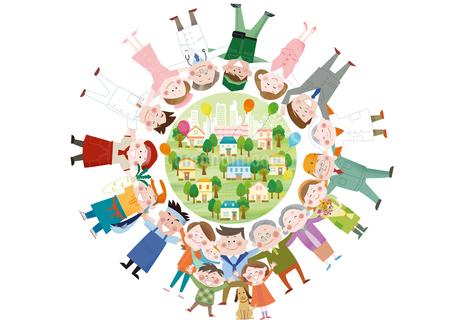 円陣を組む様々な職業の人物の集合体のイラスト素材 [FYI01663874]