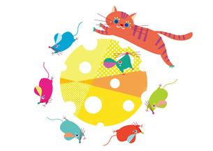 チーズを回るネズミと猫 干支のイラスト素材 [FYI01663891]