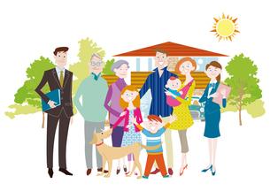 三世代家族と犬とマイホーム 三世帯家族と二世帯住宅のイラスト素材 [FYI01663907]
