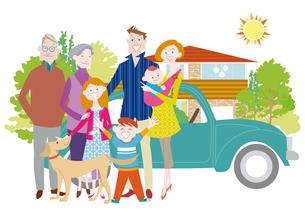 三世代家族と犬とマイホーム 三世帯家族と二世帯住宅のイラスト素材 [FYI01663918]