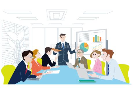 オフィスで会議をする男女 ビジネスイメージのイラスト素材 [FYI01663920]