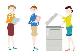 オフィスで働く女性・オフィスでコピーをとる女性のイラスト素材 [FYI01663925]