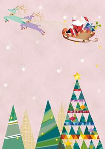 クリスマスツリーとソリにのるサンタクロースのイラスト素材 [FYI01663928]