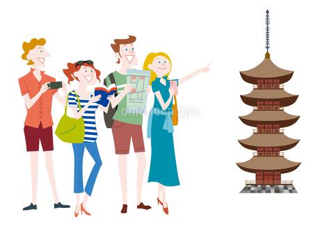 外国人観光客の日本観光 五重塔のイラスト素材 Fyi ストックフォトのamanaimages Plus