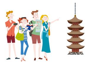 外国人観光客の日本観光 五重塔のイラスト素材 [FYI01663945]