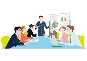 オフィスで会議をする人々 ビジネスイメージ男女のイラスト素材 [FYI01663948]