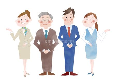 ビジネスマンとOL あいさつと案内のイラスト素材 [FYI01663956]