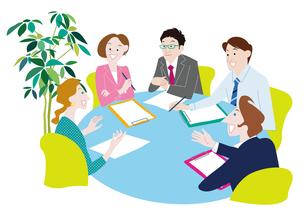 オフィスで会議をする男女 ビジネスイメージのイラスト素材 [FYI01663959]