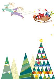 クリスマスツリーとソリにのるサンタクロースのイラスト素材 [FYI01663973]