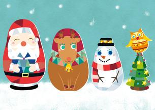 サンタクロース・トナカイ・雪だるま・フクロウのマトリョーシカのイラスト素材 [FYI01663983]