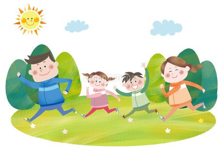 マラソンをする笑顔の家族のイラスト素材 [FYI01664003]