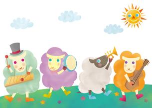 楽器を演奏する羊たち 未年 年賀状のイラスト素材 [FYI01664009]