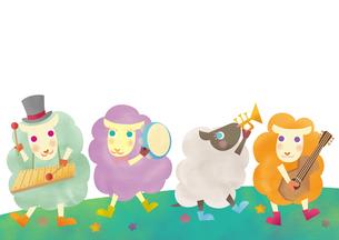 楽器を演奏する羊たち 未年 年賀状のイラスト素材 [FYI01664028]