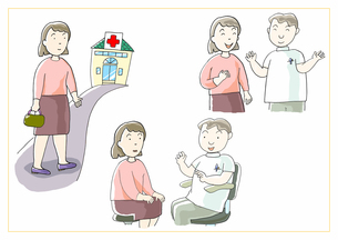 女性の医療 病院での医師による診察のイラスト素材 [FYI01664049]