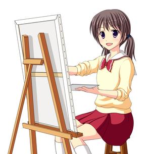 キャンバスに絵を描く美術部の女子生徒(中間服・冬服)のイラスト素材 [FYI01664080]