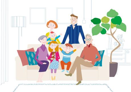 リビングでくつろぐ三世代家族のイラスト素材 [FYI01664081]