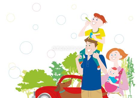 肩車をしてシャボン玉をする親子と犬と車のイラスト素材 [FYI01664099]