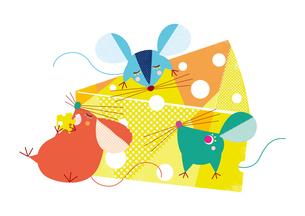 チーズを食べるネズミたち 干支のイラスト素材 [FYI01664114]