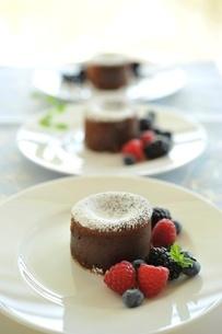 チョコレートケーキとベリー類の写真素材 [FYI01664136]