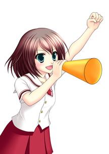 メガホンを持って応援する女子生徒(夏服)のイラスト素材 [FYI01664156]