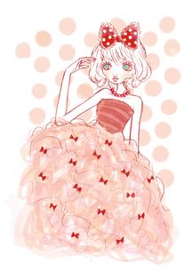 赤いリボンとピンクのドレスを着た女性のイラスト素材 [FYI01664157]