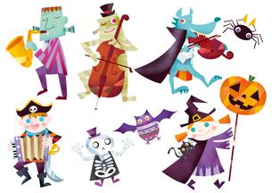 ハロウィンのパレードをするお化けと仮装する子供たちのイラスト素材 [FYI01664175]