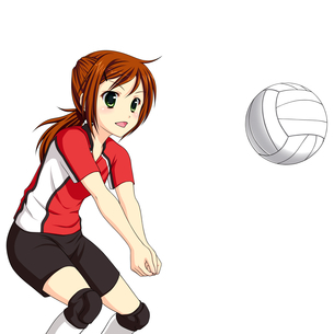 バレーボールでレシーブする女子生徒のイラスト素材 [FYI01664190]