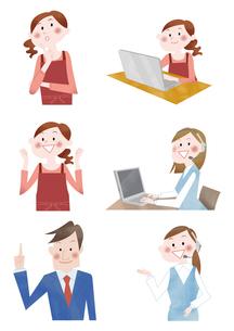 主婦とジネスマンとコールセンター 問い合わせと案内と携帯通話のイラスト素材 [FYI01664250]