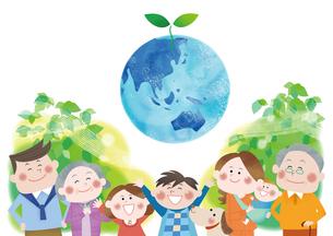 三世代家族とエコロジー 地球と成長する双葉のイラスト素材 [FYI01664260]
