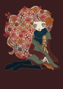 髪に沢山の花をつけた女性のイラスト素材 [FYI01664263]