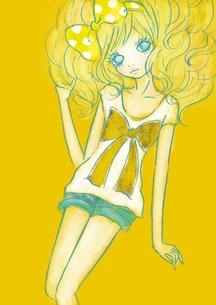 Tシャツとショートパンツの女の子のイラスト素材 [FYI01664297]