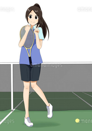 テニス部の女の子のイラスト素材 [FYI01664314]