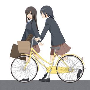 自転車で通学する女の子のイラスト素材 [FYI01664367]